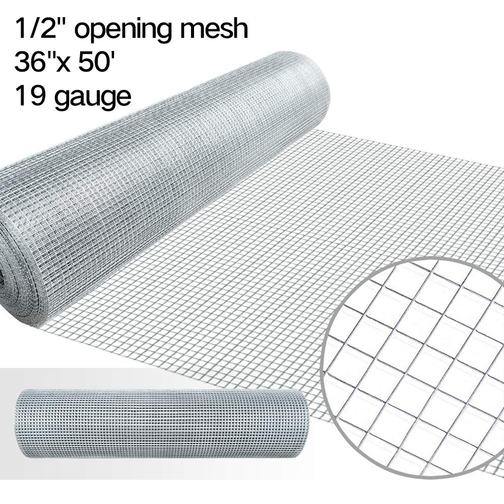 36inx50ft 1/2 in 19gauge Hardware Cloth Galvanized Welded Cage Wire Mesh Rolls Square Chicken Wire Netting Raised Garden Beds Rabbit Fence Snake Fencing Rodent Animals Weasel Gopher Moles Raccoons by AMAGABELI GARDEN & HOME