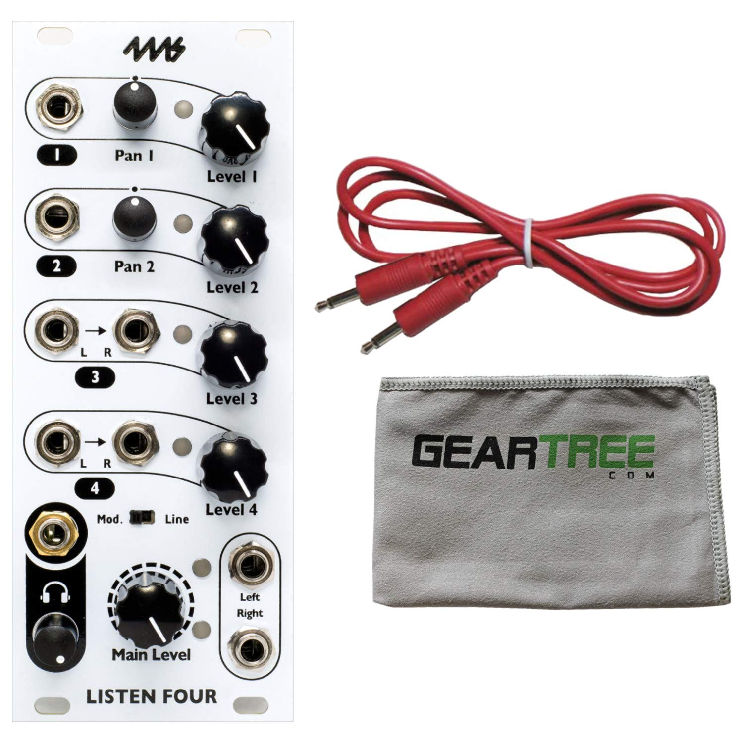 4MS L4 Listen Four Eurorack Synth Module w/Geartree Cloth and Patch Cable