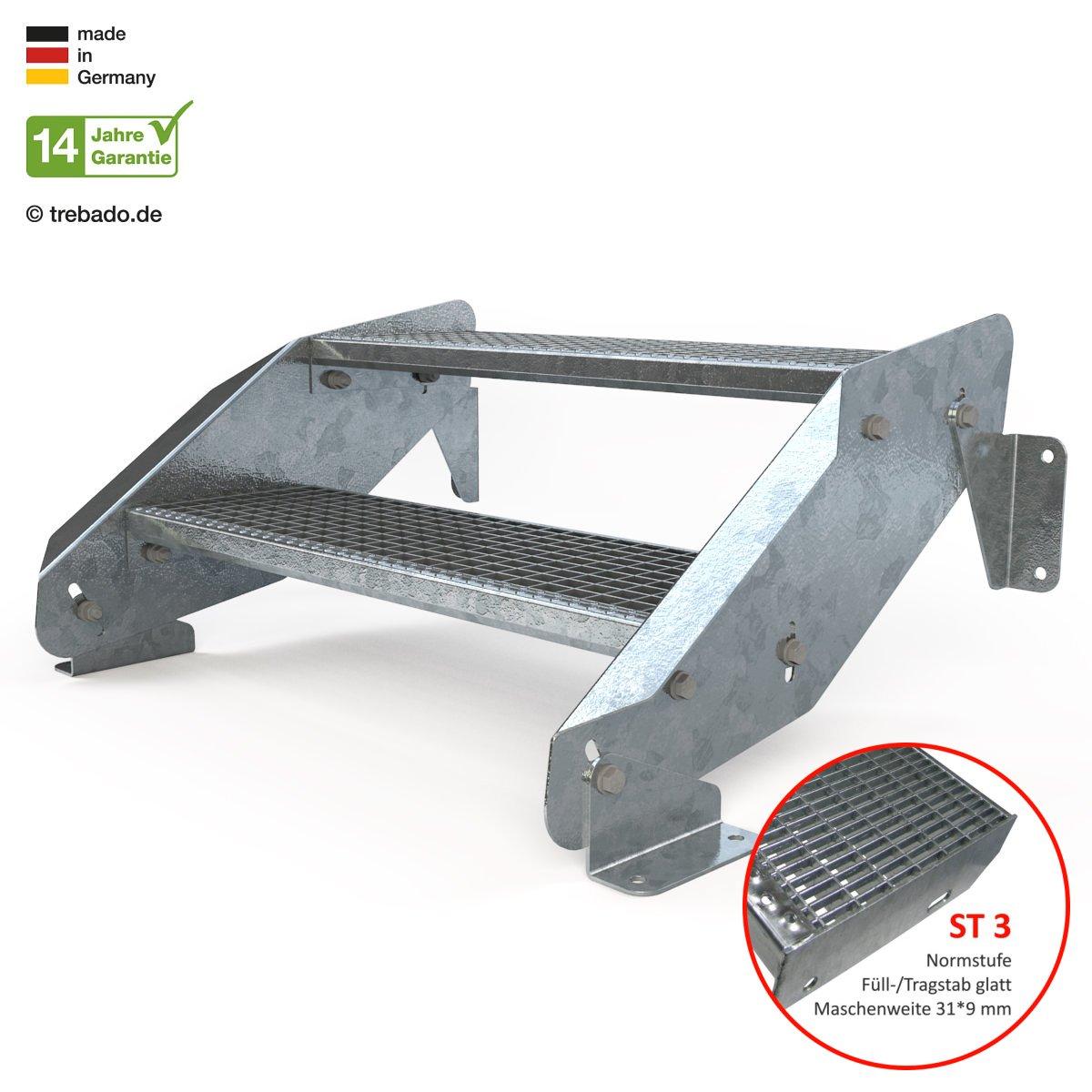 Anstellh/öhe variabel von 29 cm bis 44 cm feuerverzinkte Stahltreppe mit 800 mm Stufenl/änge als montagefertiger Bausatz Au/ßentreppe 2 Stufen 80 cm Laufbreite ohne Gel/änder Gitterroststufe ST3