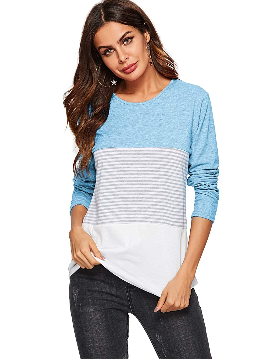 AMORETU Women's Round Neck Striped Long Sleeve Tops Color Block Blouse T-Shirt