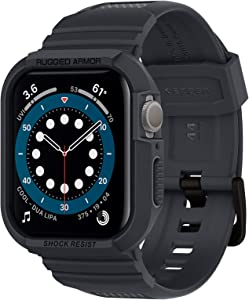 Spigen Rugged Armor Pro Designed for Apple Watch Band with Case for 44mm Series 6/SE/5/4 - Charcoal Gray