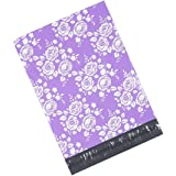 Metronic 100 10x13 Poly Mailers Envelopes Shipping Bags of Purple+White Rose Design with Self Adhesive, Waterproof and Tear-proof Postal Printed Bags
