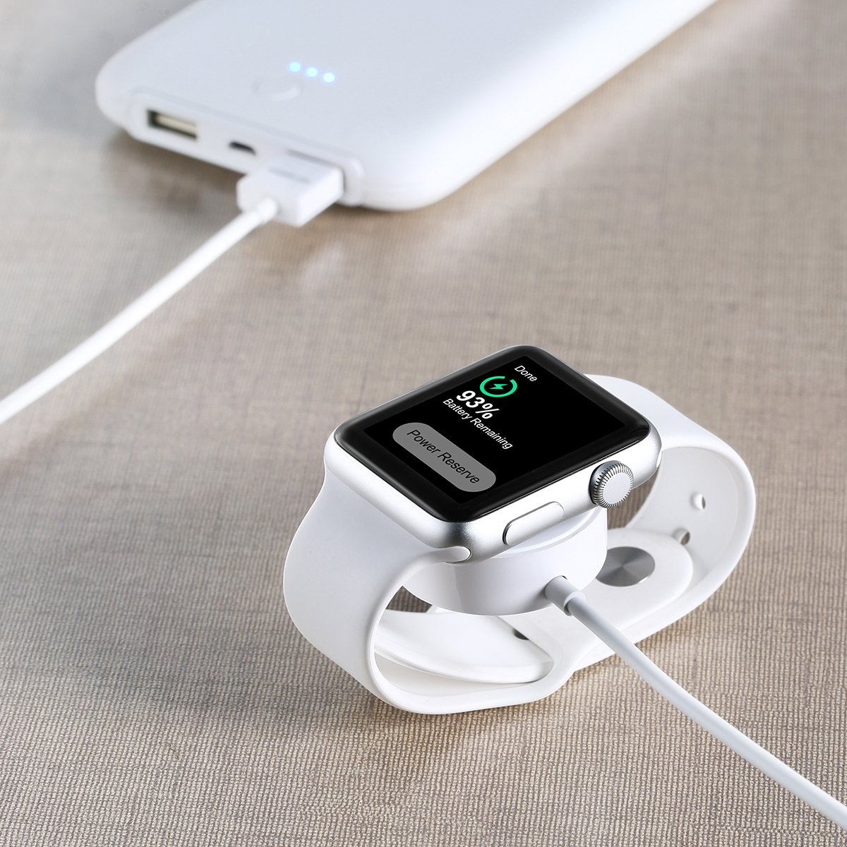 Poweradd Câble de Charge Magnétique[Apple Certifié MFI] Apple Watch Chargeur pour Apple Watch Sport Apple Watch Edition 38mm et 42mm