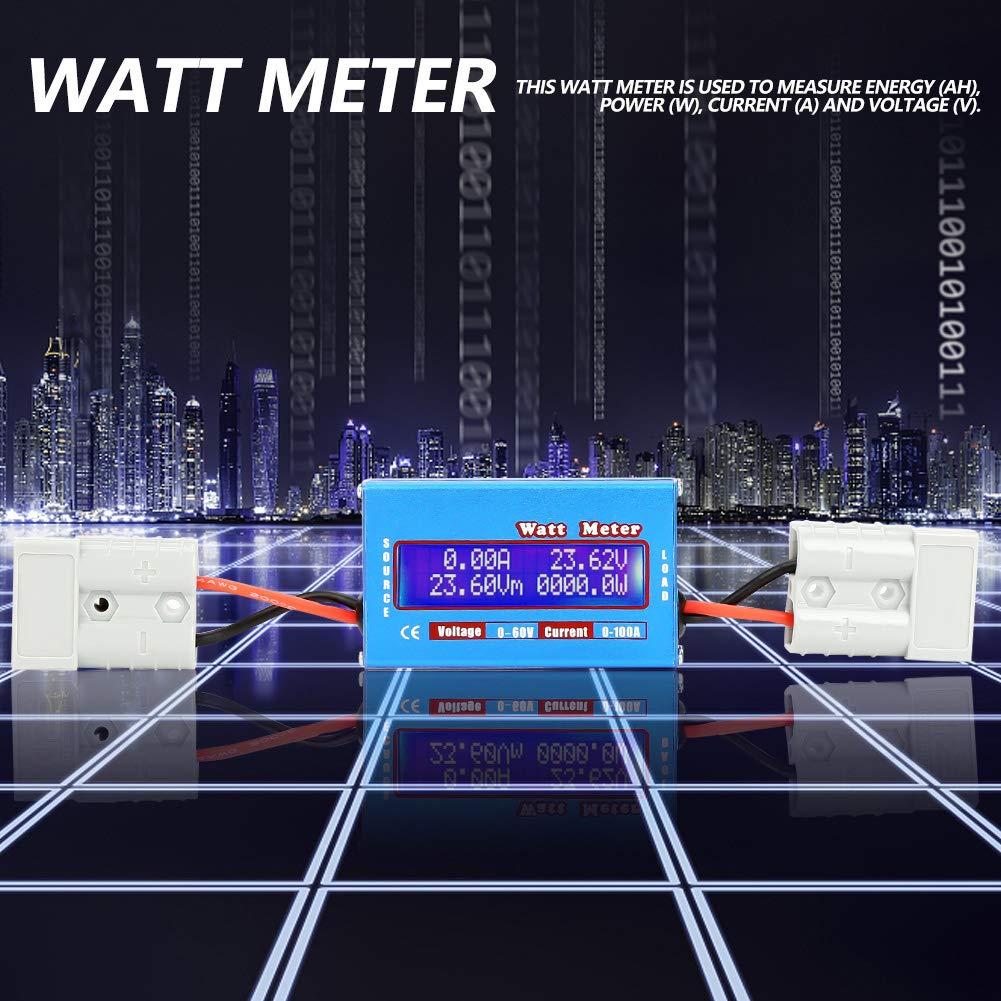 Wattm/ètre 0-100A 0-60V Compteurs d/Énergie de Haute Pr/écision DC Amp/èrem/ètre Voltm/ètre Testeur de Courant Tension M/ètre de Puissance Outil dAnalyseur d/Énergie avec Inducteur