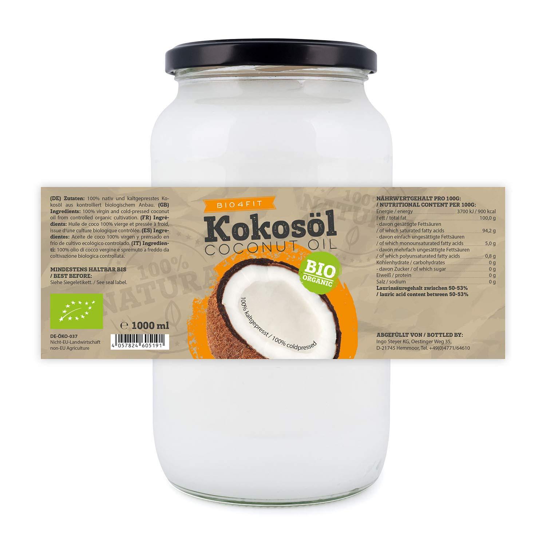aceite de coco orgánico Bio4Fit, nativo, 1 paquete (1 x 1000 ml): Amazon.es: Alimentación y bebidas