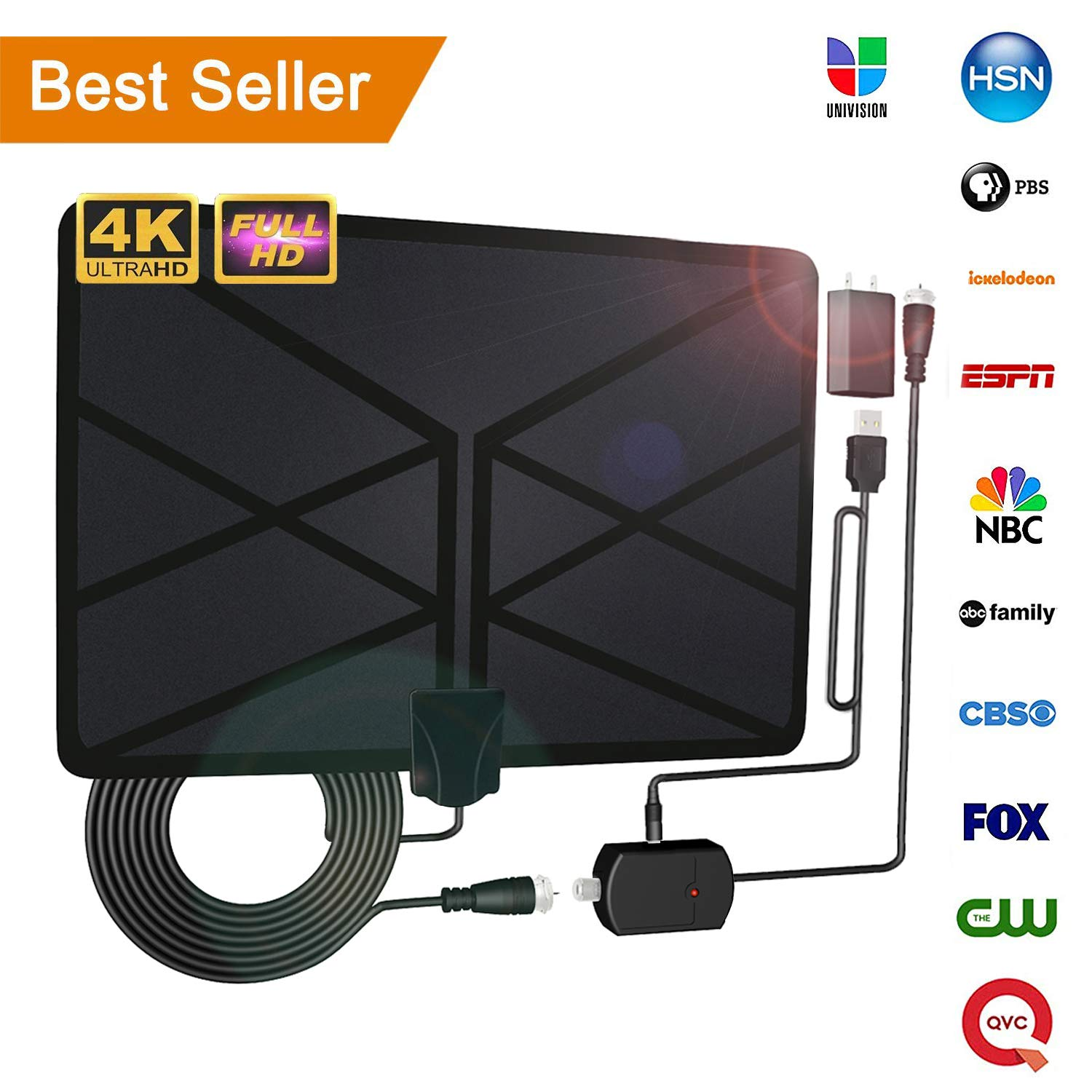 2019 Newest TV Antenna,Indoor Amplified Digital HDTV Antenna 120+ Mile Range with 4K 1080P HD VHF UHF Freeview TV for Life Local Channels Broadcast for All Types of Home Smart Television (Black)