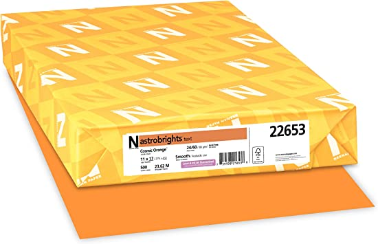 Amazon Com Astrobrights Color Paper 11 X 17 24 Lb 89 Gsm Cosmic Orange 500 Sheets 22653 Printer And Copier Paper Office Products