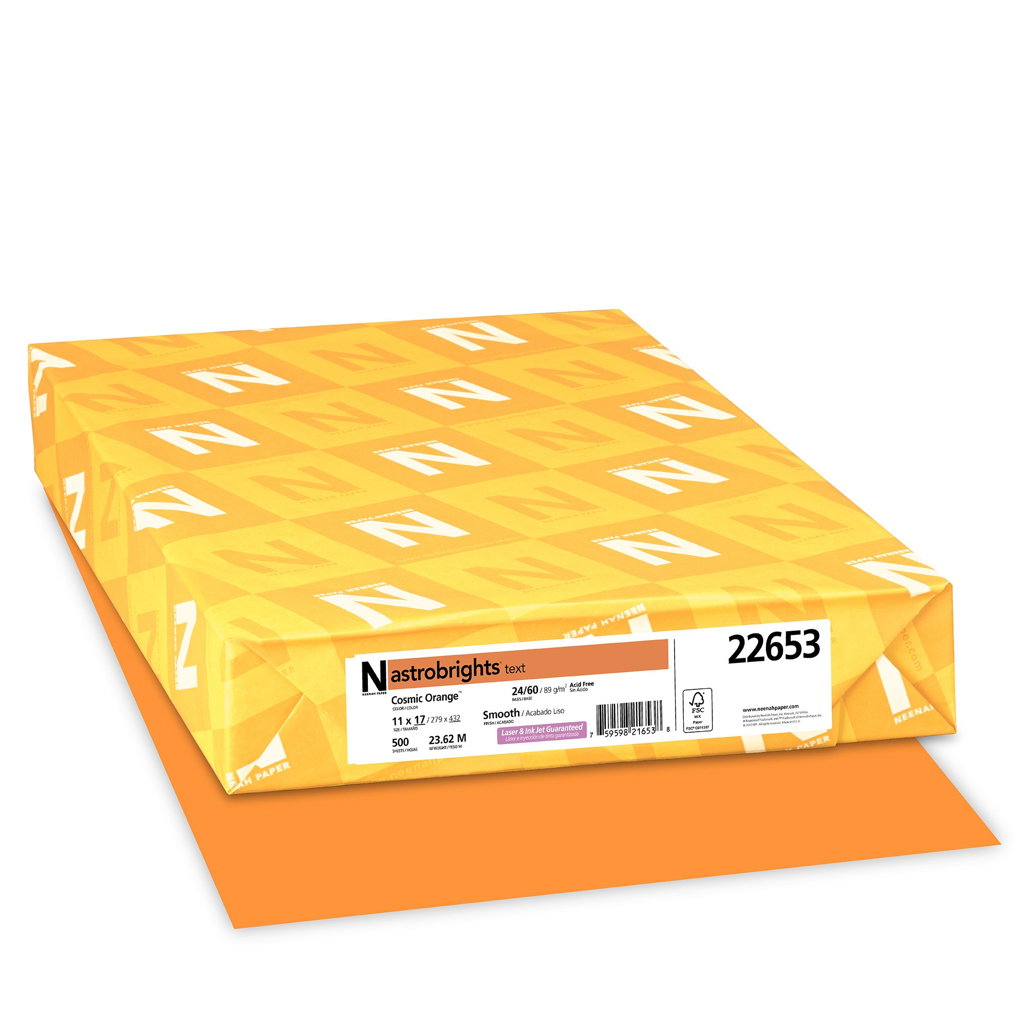 Wausau Astrobrights Heavy Duty Paper, 24 lb, 11 X 17 Inches, Cosmic Orange, 500 Sheets (22653) by Neenah