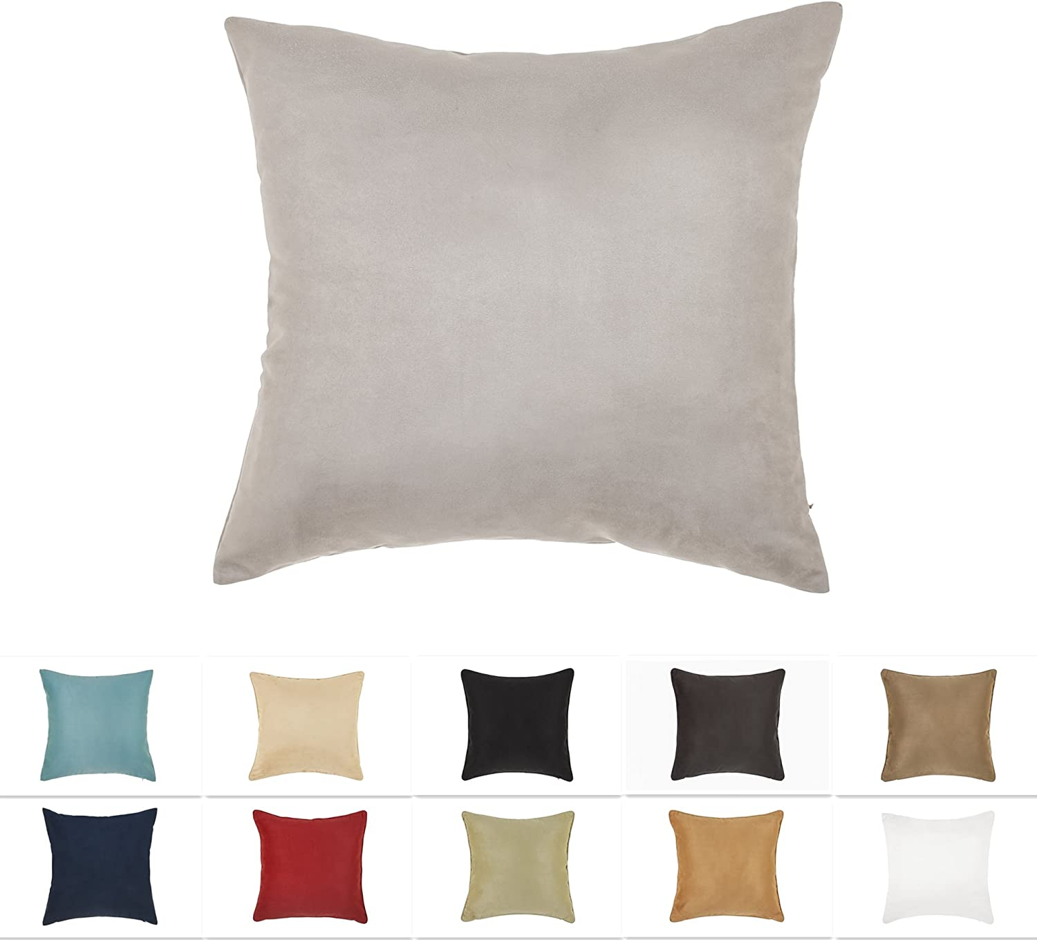 dreamhome 26 x 26 inches gray color faux suede decorative euro pillow cover throw pillow case with hidden zipper super soft faux suede on both sides