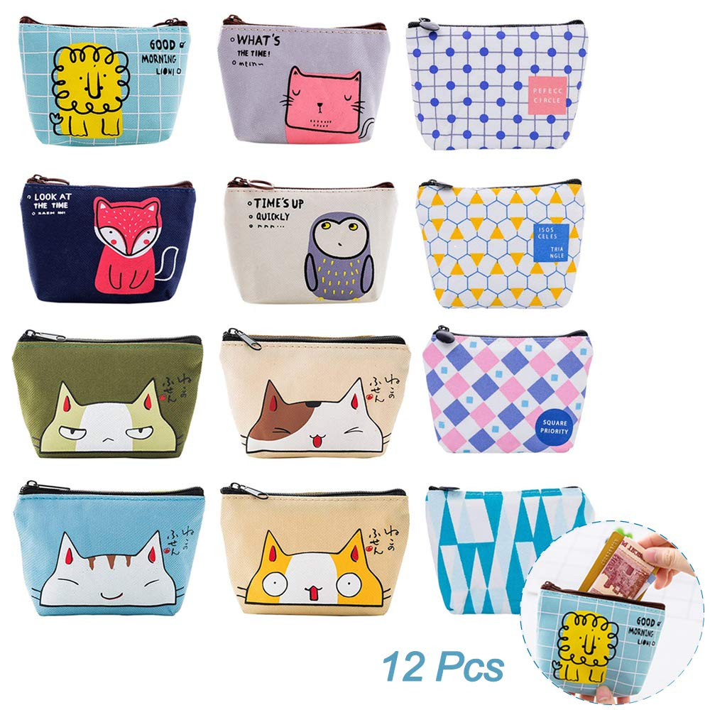 12Pcs Assorted Mini Canvas Coin Purse Wallet Bag, Hatisan Lovely Animal Small Zipper Change Cash Pouch, Fashionable Money Bag Holder for Women Girls Kids Christmas Birthday Gift - Portable & Durable
