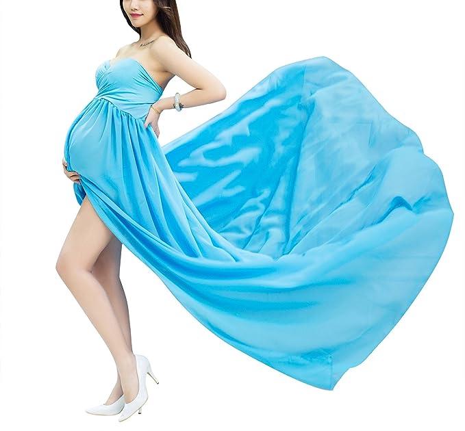 7079978db Feoya Accesorios de Fotografía Embarazo Ropa de Maternidad Maxi Vestido de  Gasa Photography Props para Mujeres Embarazadas - Azul cielo  Amazon.es   Ropa y ...