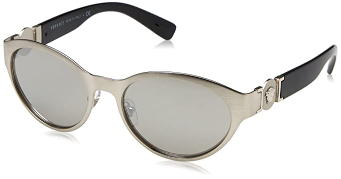 Womens 0VE2179 12666G Sunglasses, Brushed Silver/Lightgreymirrorsilver, 55 Versace