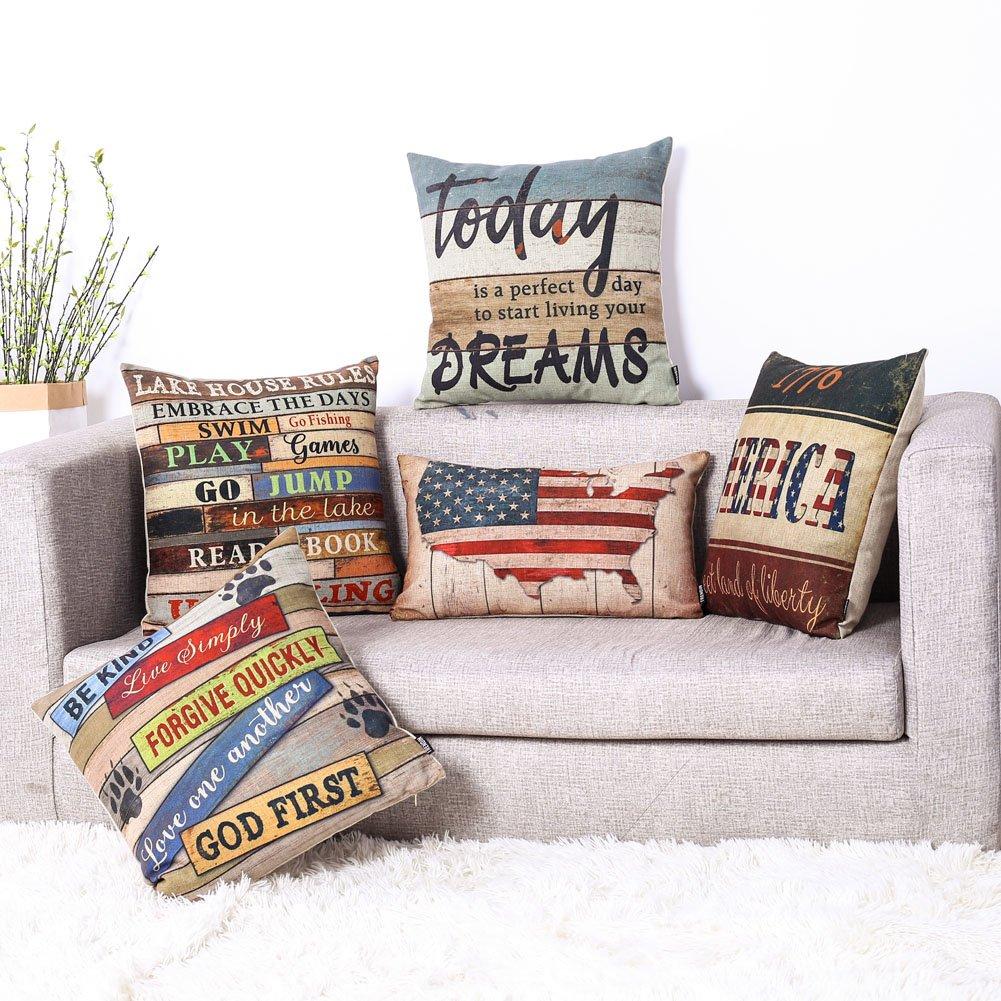 TRENDIN 18'' X 18'' Vintage Colorful Wooden Style Live Rules Linen Cotton Cushion Cover Pillow Case Man Cave Decoration (PL044TR) by TRENDIN (Image #4)