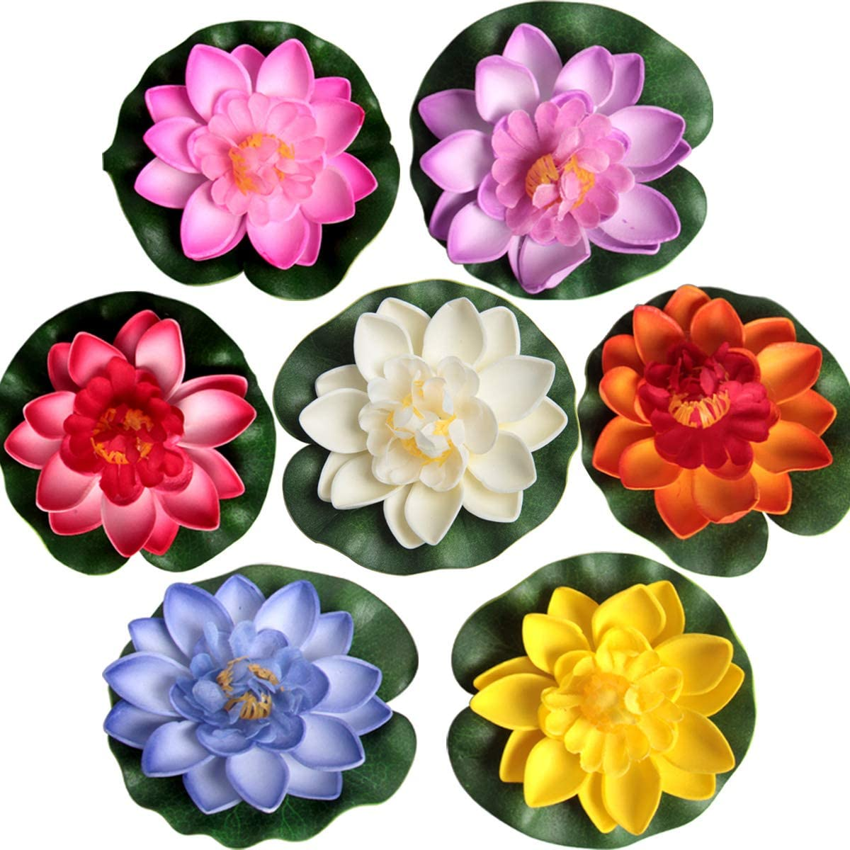 SBYURE 7 PCS Artificial Floating Lotus Flowers,Floating Pond Decor Realistic Foam Water Lily Lotus Flower,3.9 Inch (Yellow/Pink/Blue/Purple/Ivory/Orange/Red) for Home Garden Patio Pond