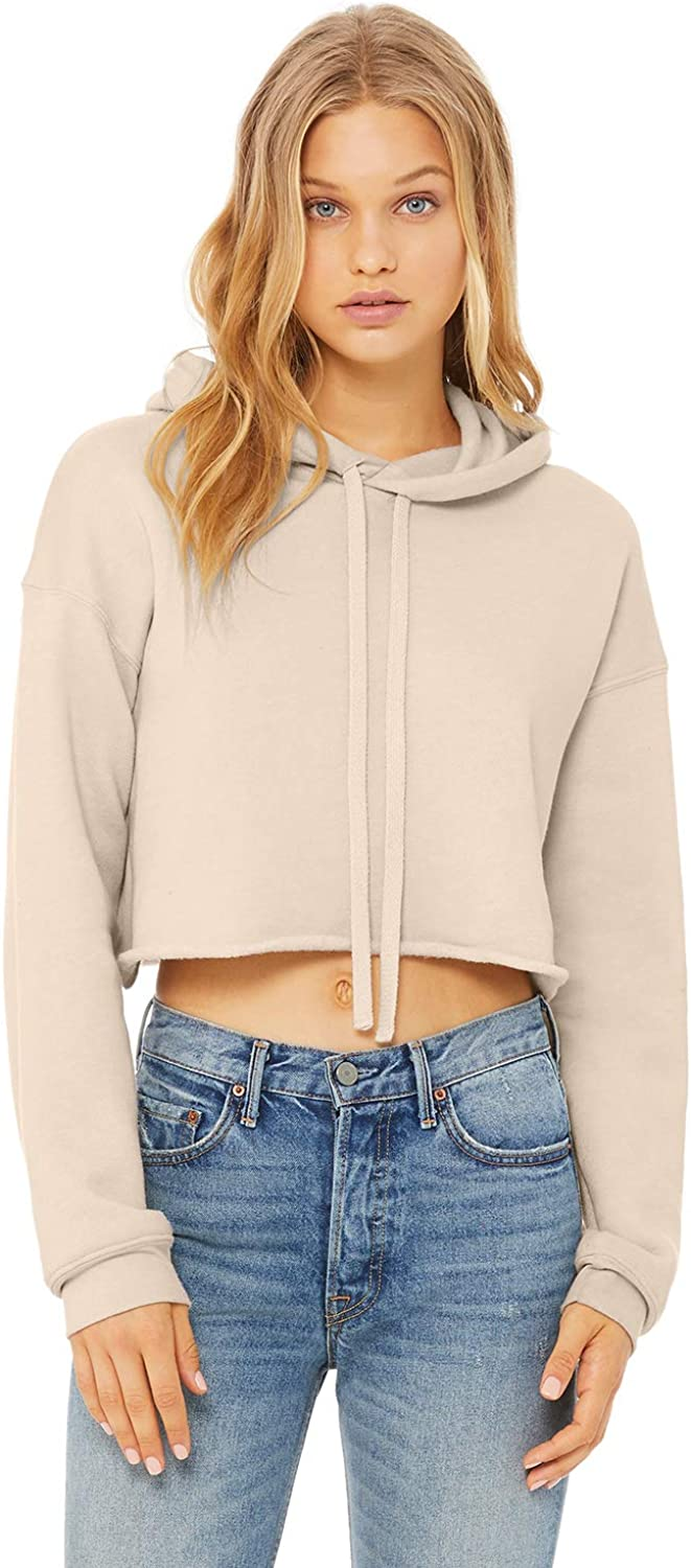 Bella + Canvas - Women's Cropped Fleece Hoodie - 7502 - S - Heather Dust