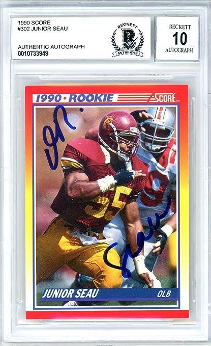 Junior Seau Autographed 1990 Score Rookie Card Autographed  302 San Diego  Chargers Gem Mint 10 d2272f737