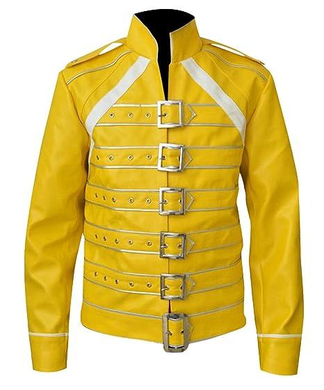 Freddie Mercury Queen Concert Yellow Faux Leather Jacket