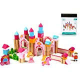 New & Unique Princess Pink Castle Wooden Building Block Set for Toddlers Preschool Age - Hardwood Plain & Colored Small Wood Blocks for Children - Basic Educational Kids Build & Play Toy