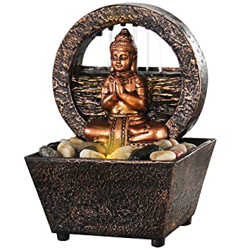Small Tranquil Buddha LED Water Fountain 7.2u0026quot; ...