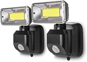 Home Zone Security Battery Powered Motion Sensor Light - Wall Mountable LED Light with No Wiring Required (2-Pack)