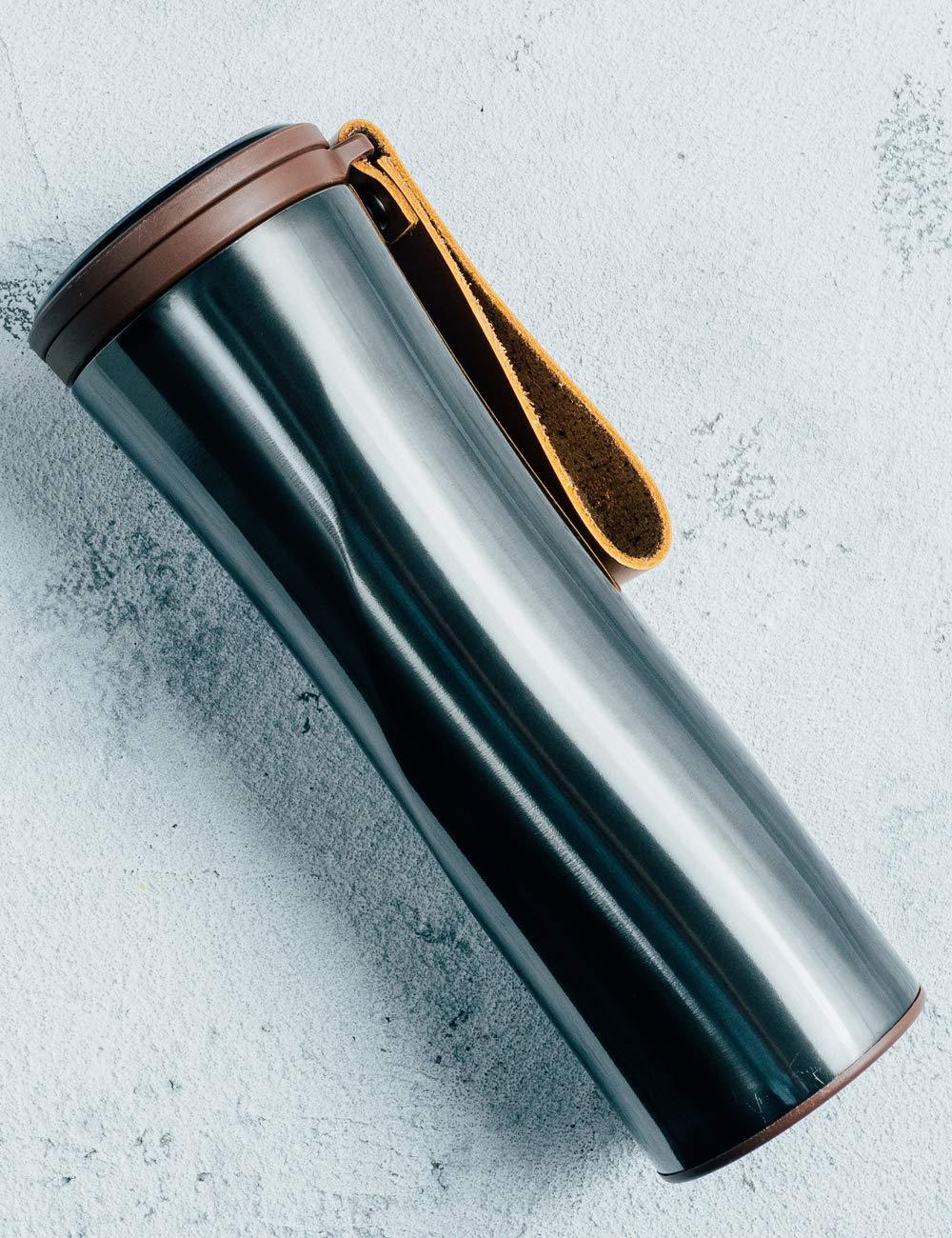 Taza de caf/é to go 430/ML Touch Interactivo Acero Inoxidable Botella con OLED indicador de Temperatura Incluyendo Filtro de caf/é Inteligente Termo Kiss Kiss Fish Taza t/érmica