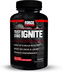 Test X180 Ignite Free Testosterone Booster to Increase Sex Drive & Libido, Burn Fat, Build Lean Muscle, & Improve Performance, Force Factor, 120 Count