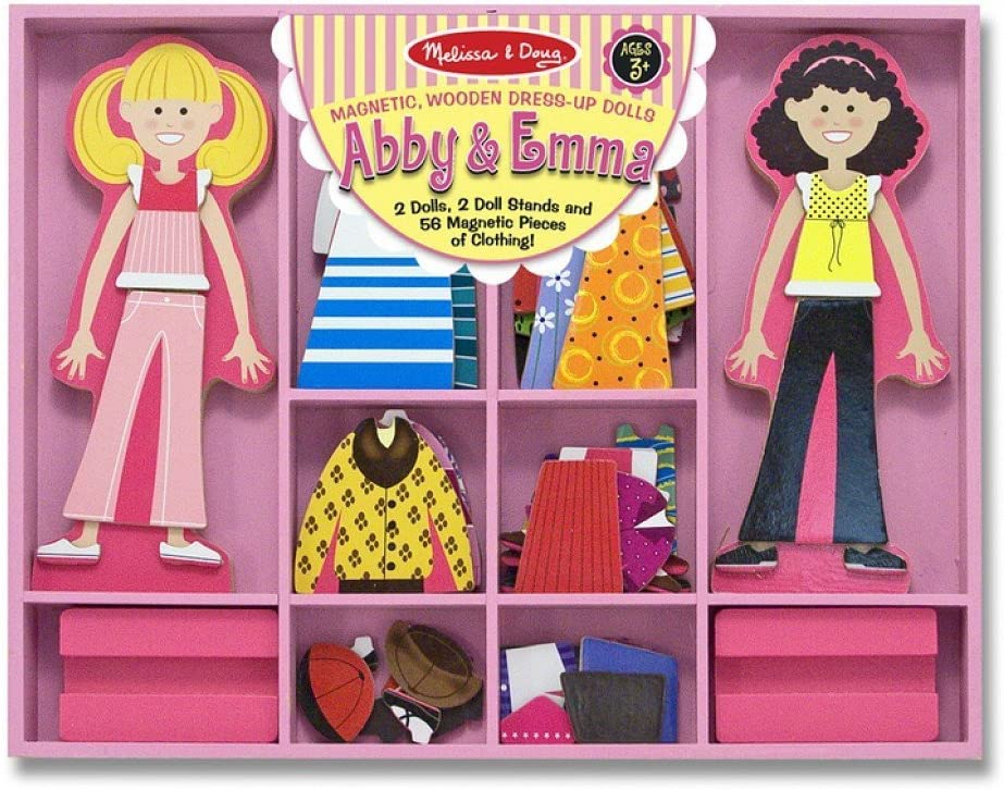 Melissa & Doug Abby & Emma - Magnetic Dress Up Wooden Doll & Stand & 1 Scratch Art Mini-Pad Bundle (04940)