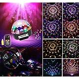 LED DJ Lichteffekte MP3 Discokugel RGB 9 Farbe Discolicht mit Fernbedienung Bluetooth Lautsprecher USB Sticker Projektor für Disco Halloween Weihnachten Party Geburtstag Pusheng
