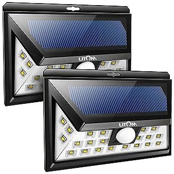 2 Pack] Litom 24 LED Lampe Solaire éclairage Solaire de Sécurité