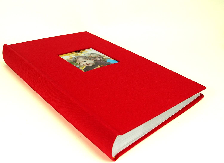 "Red Linen Fabric Slip In Photo Album for 200 6x4/"" 10x15cm photos"