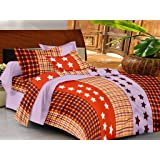Casa Basics Ezy Collection Rust Starry Cotton Bedsheet With 2 Pillowcases