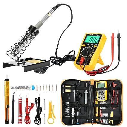 Kit soldador con herramienta de soldadura de temperatura ajustable electricitéde 60 W, estación de soldadura