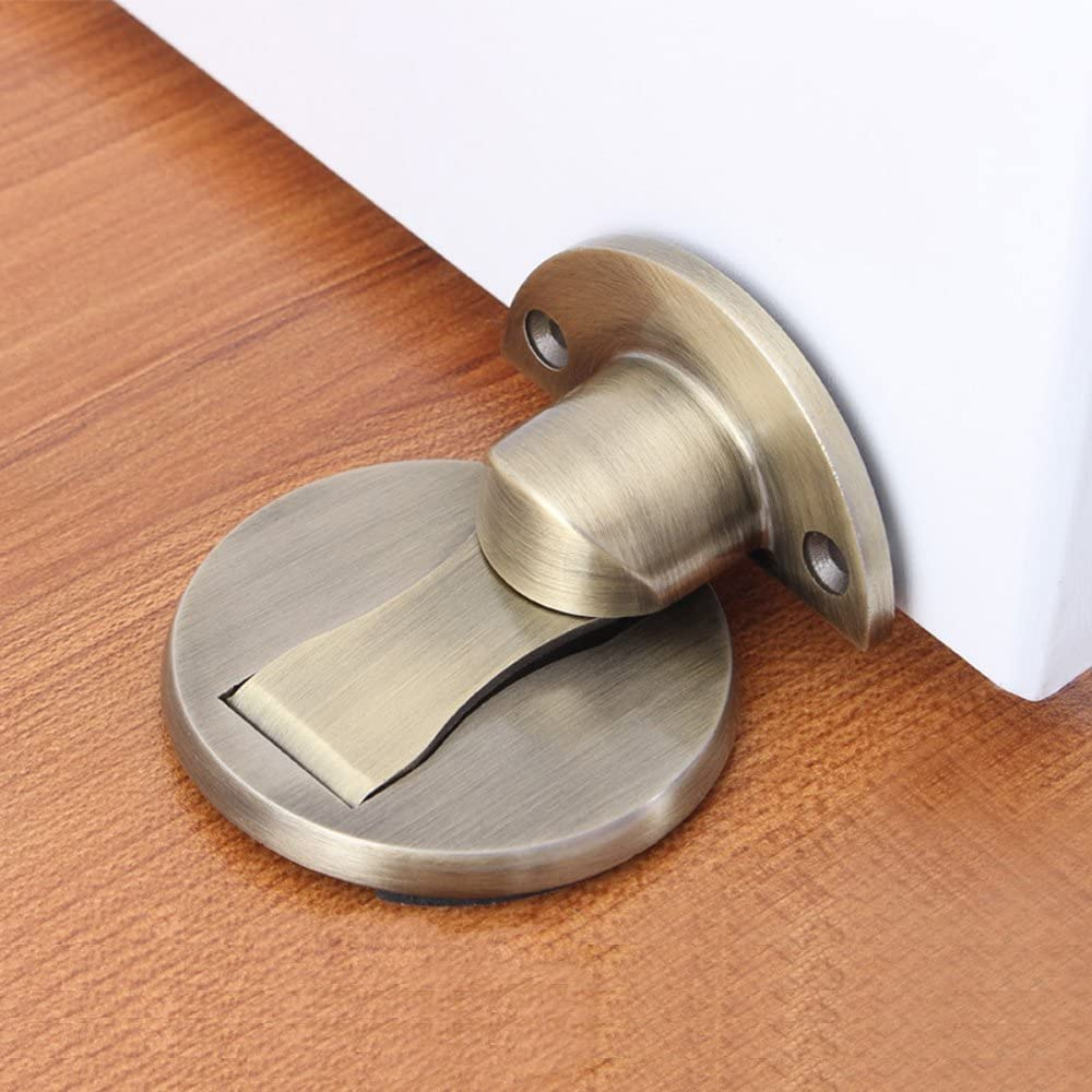 Solid Metal Invisible Door Stopper SUS 304 Stainless Steel Door Catch Doorstop 3M Double-Sided Adhesive Tape Magnetic Door Stop Door Holder No Need to Drill and Catch Screw Mount 1 Pack Bronze