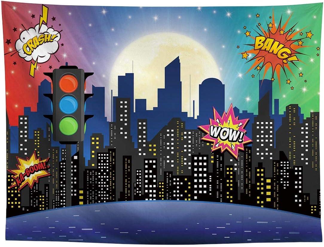 Allenjoy Superhero Super City Skyline Edificios telón de fondo para baby shower Boy Girl 1er cumpleaños decoración Skyscrapaper urbano semáforo recién ...
