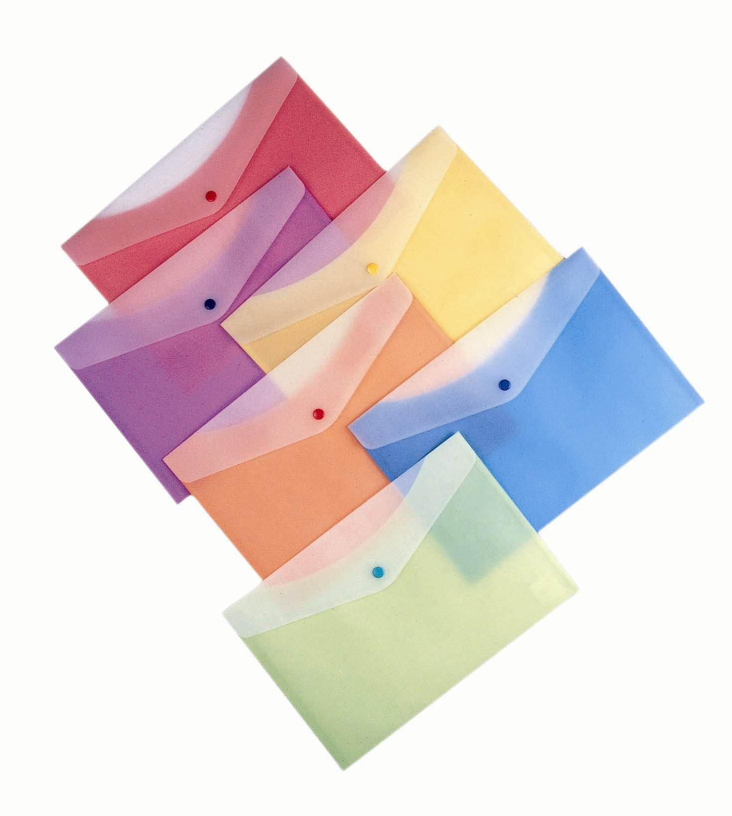 Filexec 50002-1597 1597, 2 Tone, Poly Envelope, Snap Button, Letter Size, Set of 12 in 6 Asst. Colors, 2 Ea Blueberry, Strawberry, Grape, Lime, Lemon, Tangerine