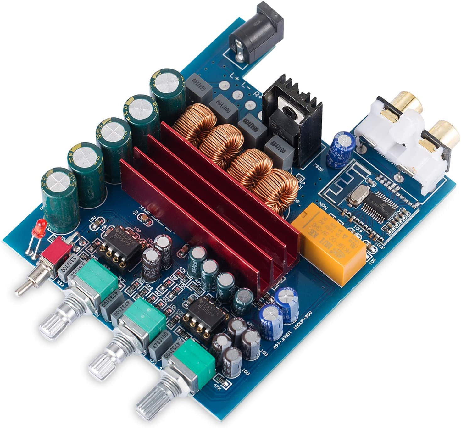 Nobsound 200W Bluetooth 4.2 Power Amplifier Board 2 Channel Digital Amp TPA3116D2 HiFi Stereo Audio Receiver Home Speaker Treble Bass Control