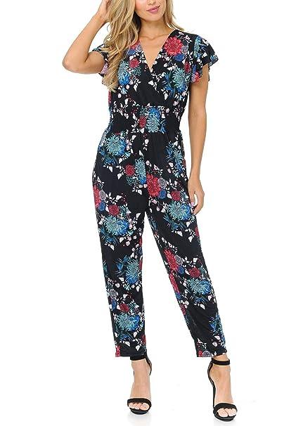 extremely unique hot products shop for authentic Auliné Collection Womens Short Cap Sleeve V-Neck Long Pants Romper Jumpsuit