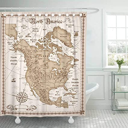 Emvency Waterproof Fabric Shower Curtain Hooks Old The Vintage Map Of North America USA State West