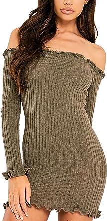 Ladies Knitted OFF Shoulder Ribbed Bardot Ruffle Frill Long Sleeved Jumper Top