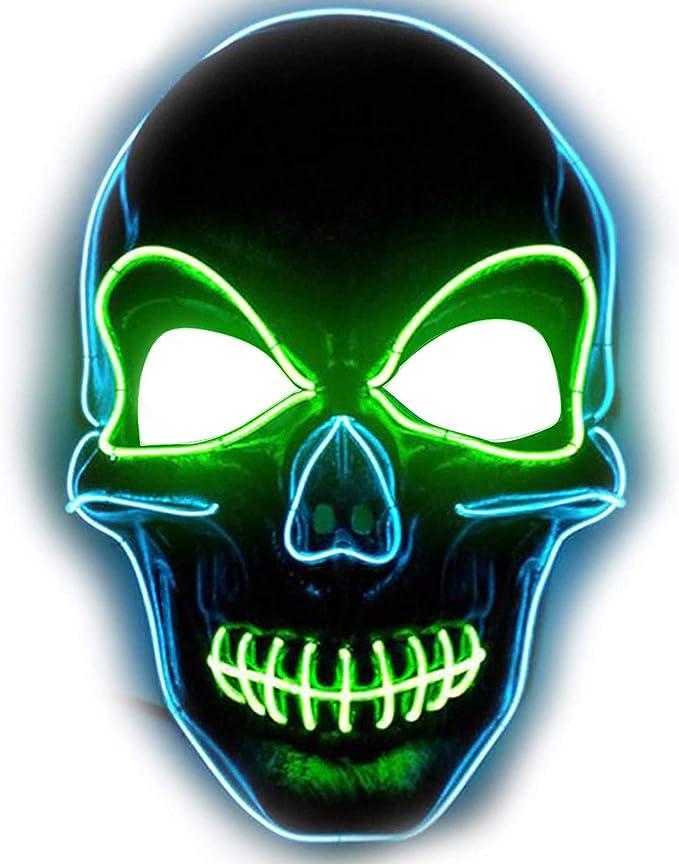 Halloween Mask LED Light Up Mask Scary Skull Mask for Festival Parties Costume