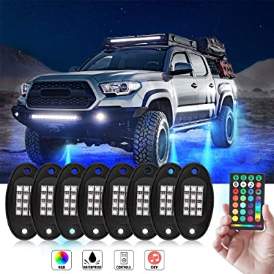 Rock Lights -JoaSinc RGB LED Rock Lights Muti-channel Control Color Lights DIY Remote Controller Timing Flashing Music Mode Underglow Neon Lights Kit for Trucks Cars Jeep Off Road SUV ATV (8 Pods): Automotive