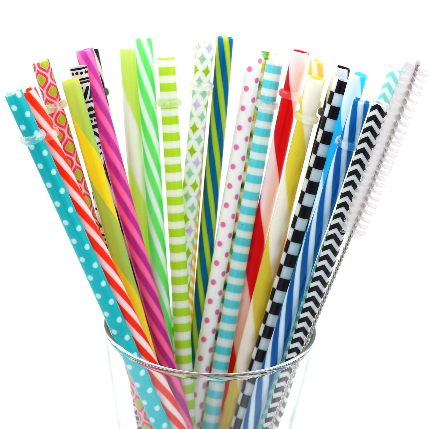 BESU 25 Pieces Reusable Straws Fit for Tumbler Mason Jar with Cleaning Brush(9 Inch and 10.5 Inch)
