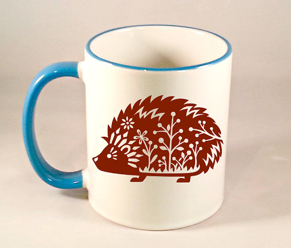 Whimsical Hedgehog Coffee Mug Funny Coffee by NaughtyCatApparel