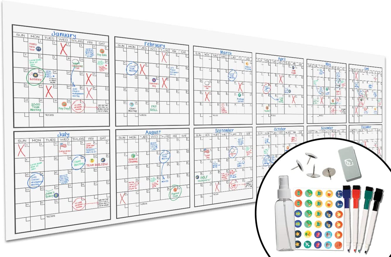"""Large Dry Erase Wall Calendar - 36"""" x 96"""" - Undated Blank 2020 Reusable Yearly Calendar - Giant Whiteboard Year Poster - Laminated Office Jumbo 12 Month Calendar"""
