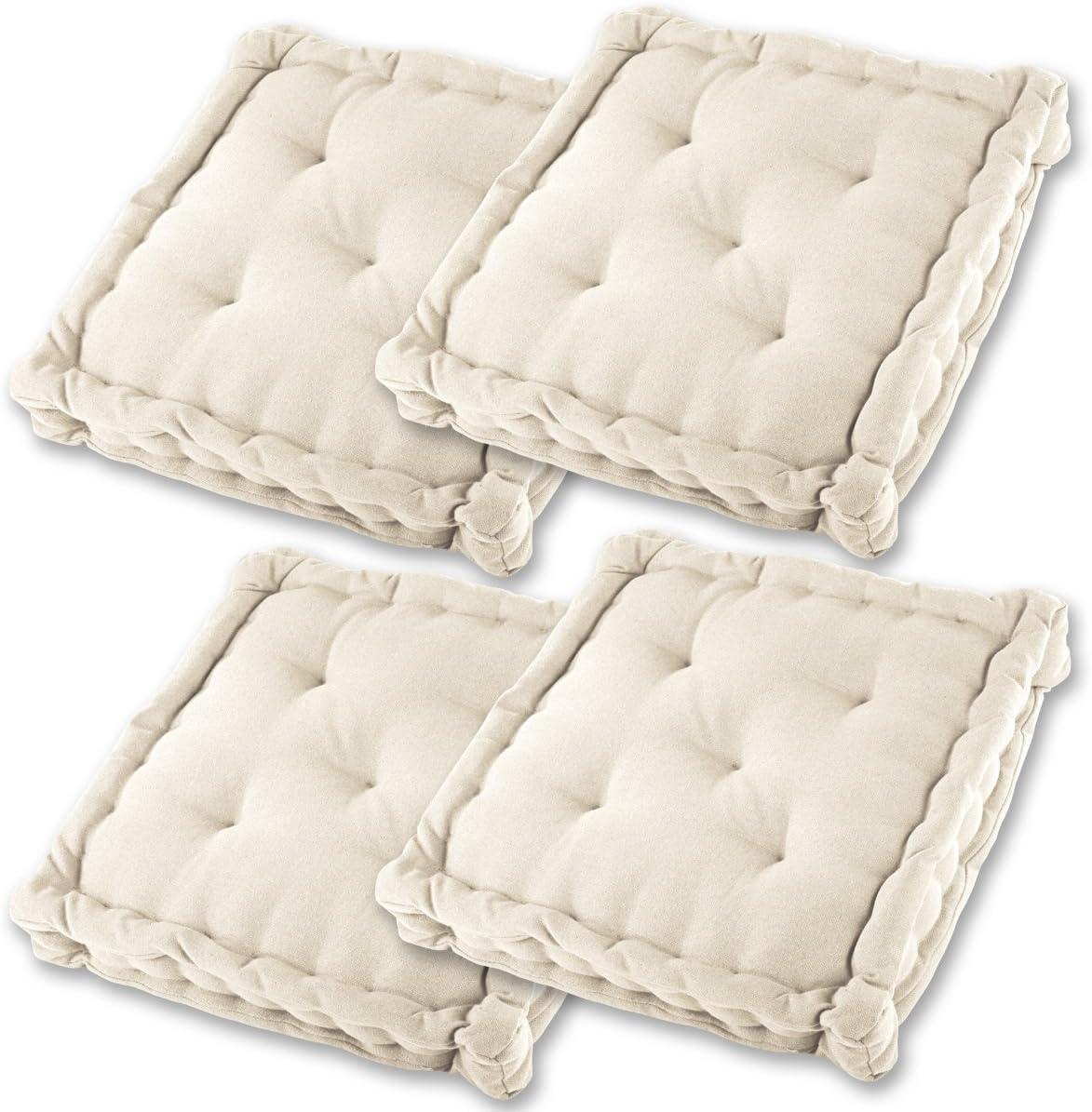 Gräfenstayn® Set de 4 Cojines, Cojines para Silla de 40 x 40 x 8 cm para Interior y Exterior de 100% algodón cojín Acolchado/cojín para el Suelo (Crema)