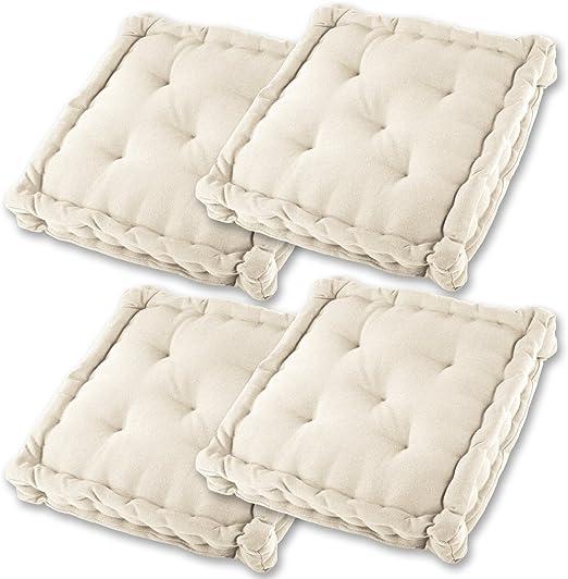 Gräfenstayn® Set de 4 Cojines, Cojines para Silla de 40 x 40 x 8 cm para Interior y Exterior de 100% algodón cojín Acolchado/cojín para el Suelo (Crema): Amazon.es: Jardín