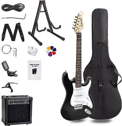 FOBUY Kit de iniciación para principiantes completo Paquete de guitarra eléctrica de tamaño completo, color negro with blanc: Amazon.es: Instrumentos musicales
