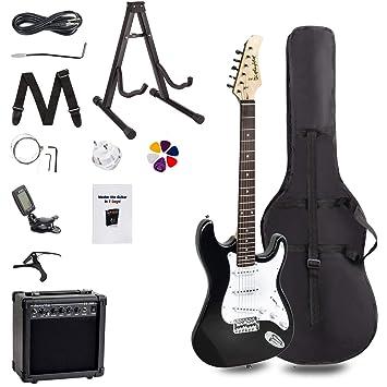 FOBUY Kit de iniciación para principiantes completo Paquete de guitarra eléctrica de tamaño completo, color
