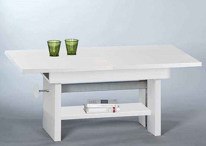lifestyle4living Couchtisch, Tisch, Wohnzimmertisch, Salontisch, Sofatisch, Kaffeetisch, Clubtisch, weiß matt, höhenverstellb
