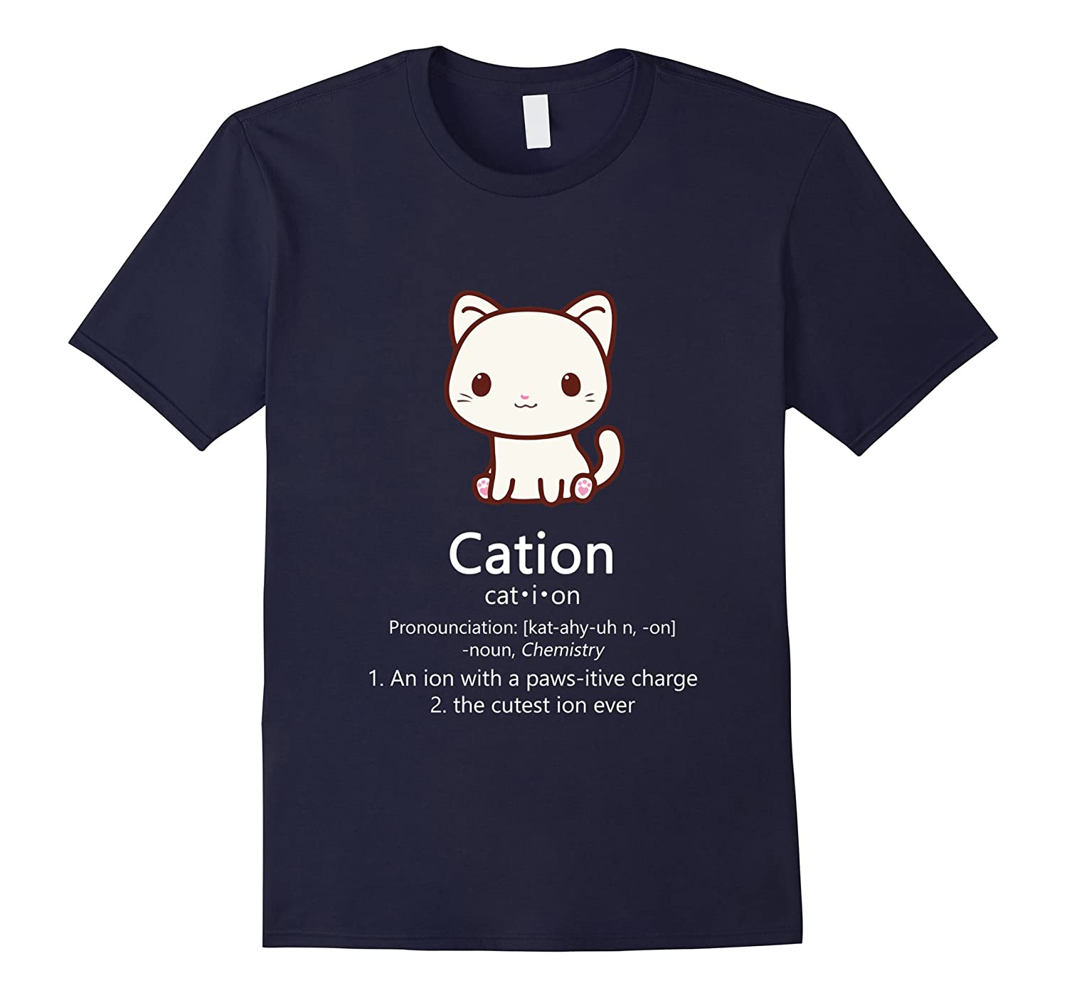 Cute Science Cat T-Shirt Kawaii Cation Chemistry Pawsitive-TD